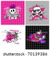 emo vector banners, suitable for t-shirt print - stock photo