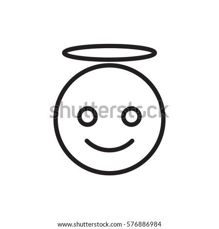 Emoji Angel Icon Illustration Isolated Vector Vector de stock (libre ...