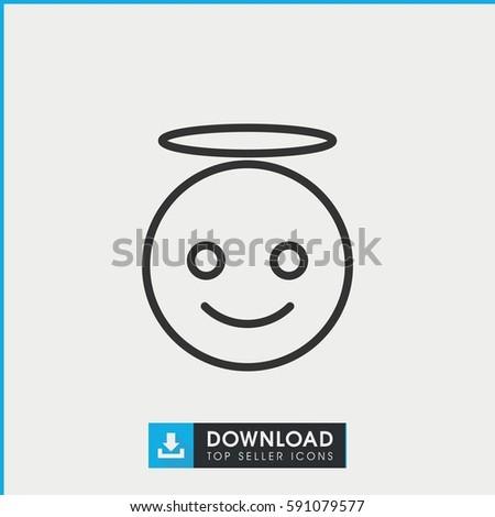Emoji Angel Icon Simple Outline Emoji Vector de stock (libre de ...