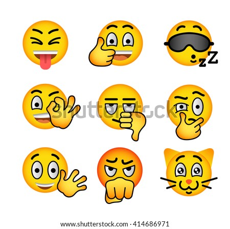 Emoji emoticons. Smiley face flat vector icons set. Facial emotions and expression symbols. Cute cartoon illustrations of mood and reactions for text chat and web messenger. Yellow ball character - stock vector
