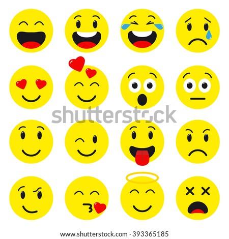 Emoji set. Flat style emoji. Avatar isolated on white background. Cute emoji. Smile icons. Emoticon collection - stock vector
