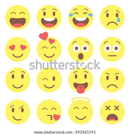 Emoji set. Flat style emoji. Avatar isolated on white background. Cute ...