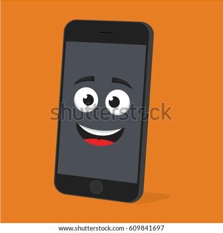 Emoji smartphone funny emotion on bright stock vector 2018 emoji smartphone with funny emotion on bright background smiling mobile phone character smile emoticon voltagebd Choice Image