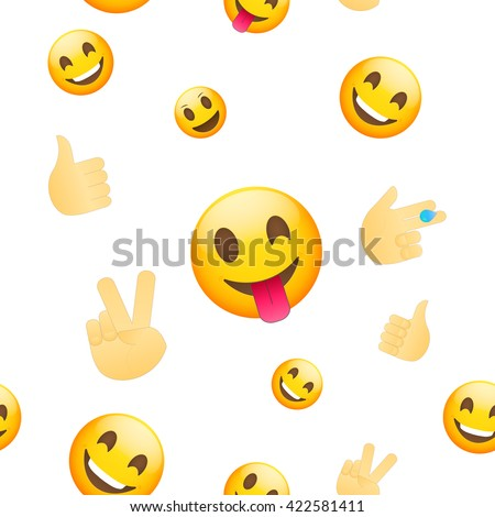Emoji wallpaper. Emoticons seamless pattern. Emoji faces and emoji hand icons on white background. - stock vector