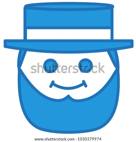 emoji smiling mormon man heavy beard stock vector 1030379974