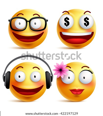Emoji yellow emoticons or smiley faces collection with funny emotions in glossy 3D realistic isolated in white background. Vector illustration  - stock vector