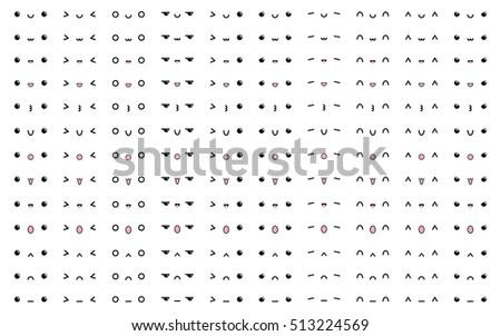 emojis collection of sweet kawaii emoticon emojis set of vector kawaii emojis happy