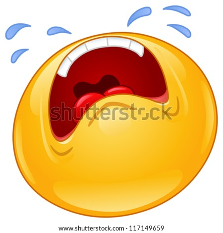 Emoticon crying out loud - stock vector
