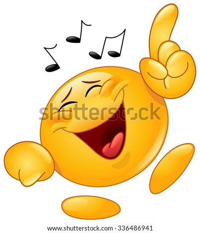 Emoticon dancing to music - stock vector