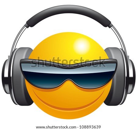 Emoticon DJ - stock vector