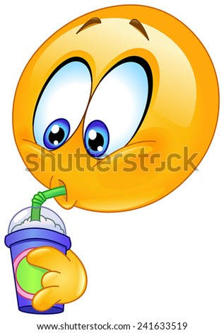 Emoticon drinking soda from a disposable cup - stock vector