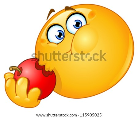 Emoticon eating an apple - stock vector