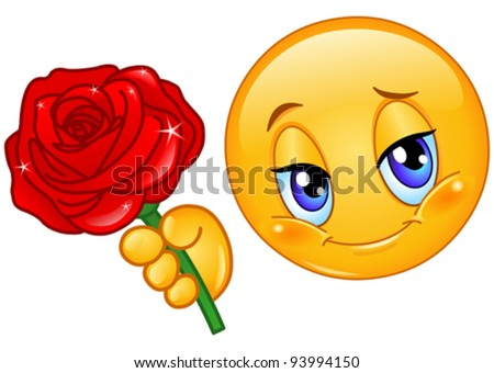 Emoticon giving a red rose - stock vector