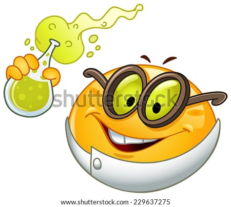 Emoticon holding a beaker full with bubbly fluid - stock vector