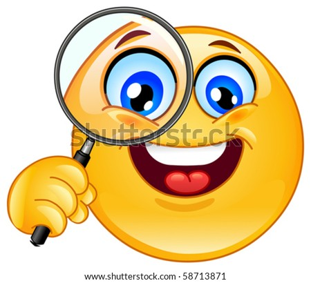 Emoticon holding a magnifying glass - stock vector