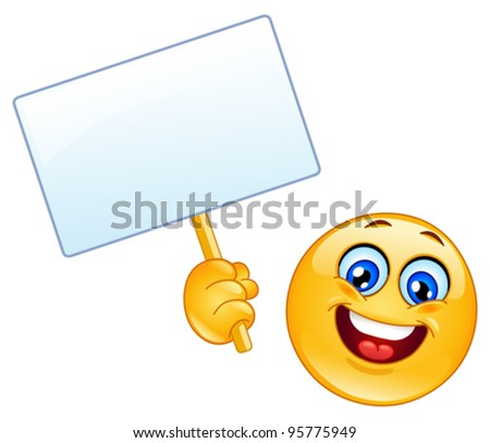 Emoticon holding a sign - stock vector
