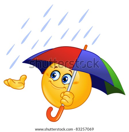 Emoticon holding an umbrella - stock vector