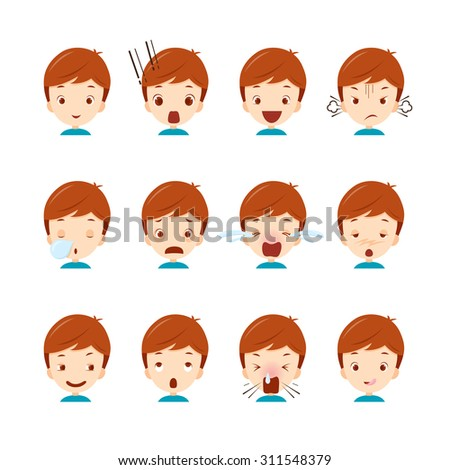 Emoticon icons set of cute boy with various emotions, emoji, facial, feeling, mood, personality, symbol - stock vector