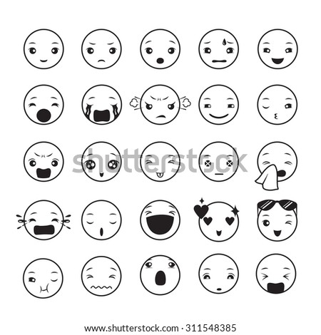 Emoticon icons set with various emotions, monochrome, emoji, facial, feeling, mood, personality, symbol