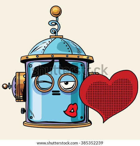 emoticon love kiss emoji robot head smiley emotion - stock vector