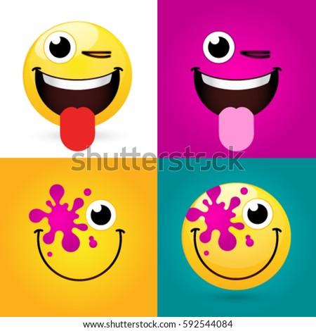 Emoticon Smiley Icon Set Web Happy Stockvector 592544084 Shutterstock