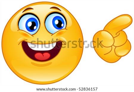 Emoticon pointing - stock vector