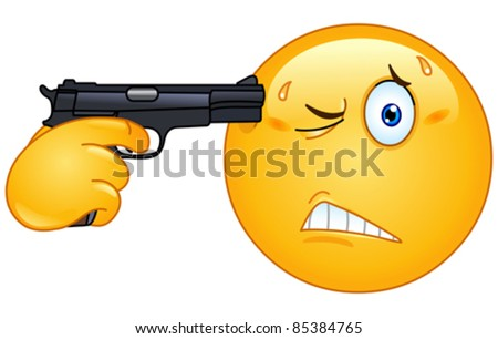 Emoticon pointing a gun on his head - stock vector