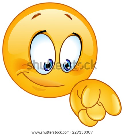 Emoticon pointing down with his finger - stock vector