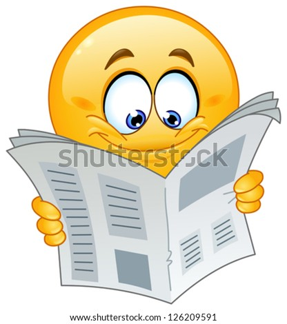 Emoticon reading a newspaper - stock vector