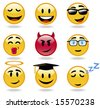 Emoticon set, from cool and funky to sleepy head. Part 3 - stock vector