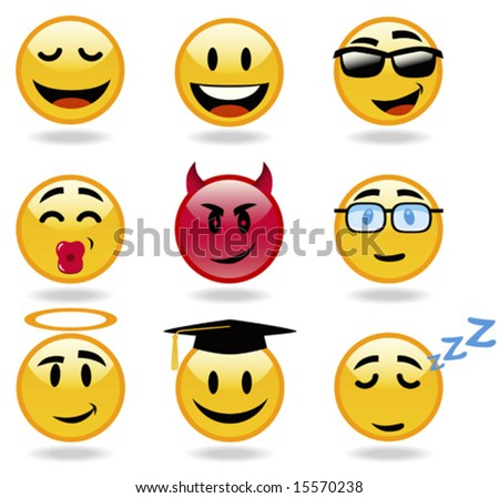 Emoticon set, from cool and funky to sleepy head. Part 3
