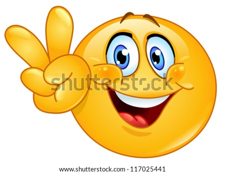 Emoticon showing the V sign - stock vector