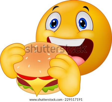Emoticon smiley eating hamburger - stock vector