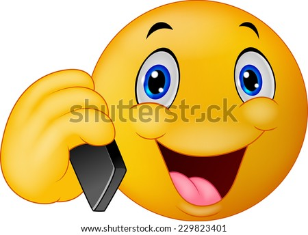 Emoticon smiley talking on cell phone - stock vector