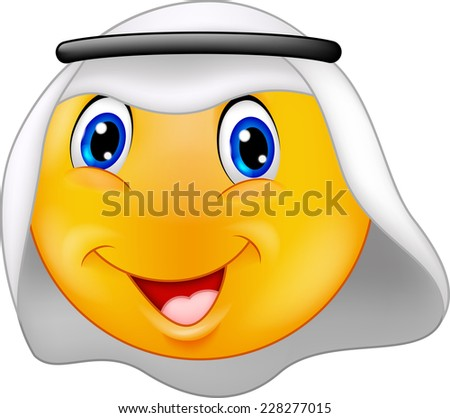 Emoticon smiley with Arabic dress - stock vector