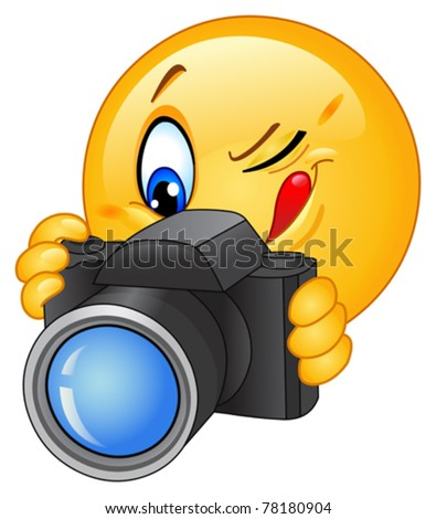 Emoticon taking a photo
