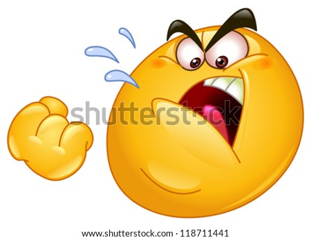 Emoticon threatens with a fist - stock vector