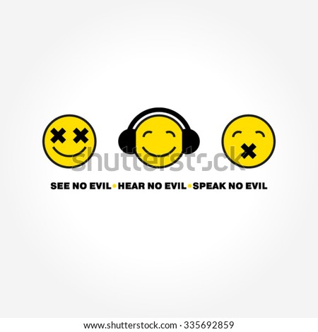 Emoticon three monkeys vector