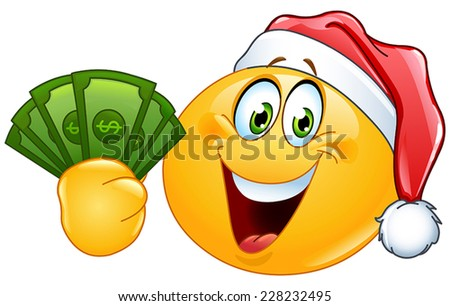 Emoticon wearing Santa hat and holding dollar bills - stock vector
