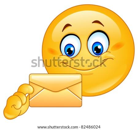 Emoticon with envelope - stock vector
