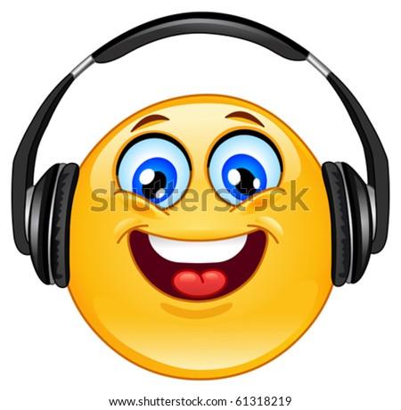 Emoticon with headphones - stock vector