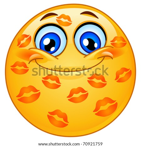 Emoticon with many kisses - stock vector