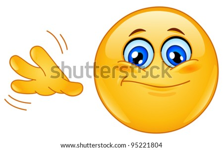 Emoticon with so-so hand sign - stock vector