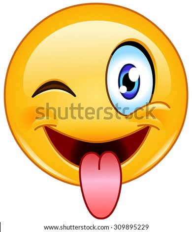 Emoticon with stuck out tongue and winking eye