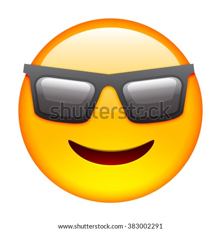 Emoticon with Sun Glasses. Smile icon. Isolated Vector Illustration on White Background - stock vector