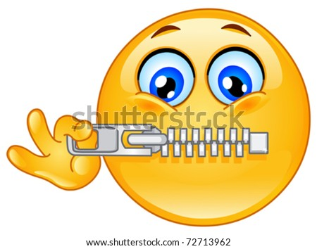 Emoticon zipping his mouth - stock vector