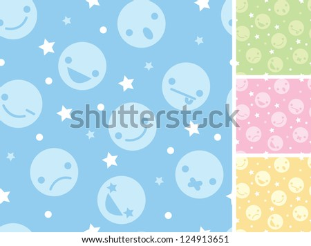 Emoticons four seamless patterns backgrounds - stock vector