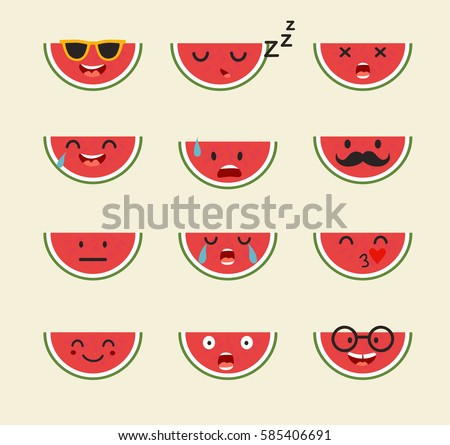 Emoticons fruit vector set. Emoji cute Watermelon with face. Cute emoji colorfull illustration. Watermelon, flat cartoon style