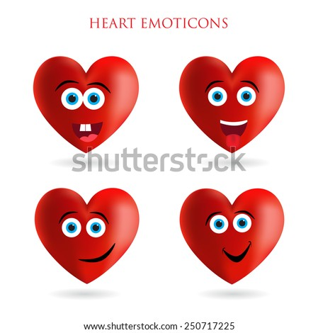 Emoticons heart set.Emoji heart vector illustration. - stock vector