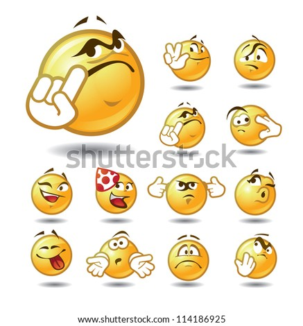 EmotIcons Set 1 of 5 - stock vector